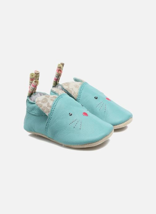 Slippers Babybotte Chat - Moulin Roty Blue detailed view/ Pair view