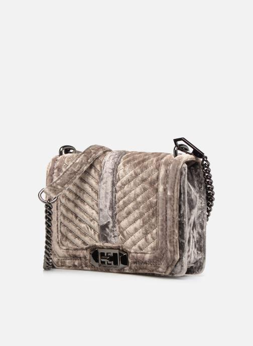 Handtaschen Rebecca Minkoff Chevron Quilted Small Love Crossbody Velvet grau schuhe getragen