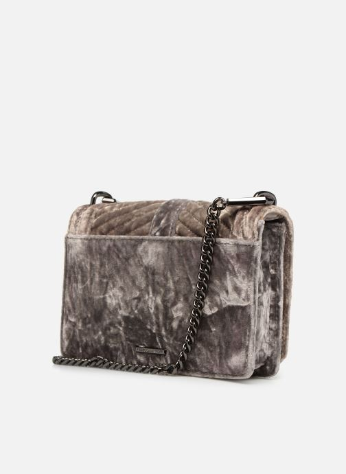 Sacs à main Rebecca Minkoff Chevron Quilted Small Love Crossbody Velvet Gris vue droite