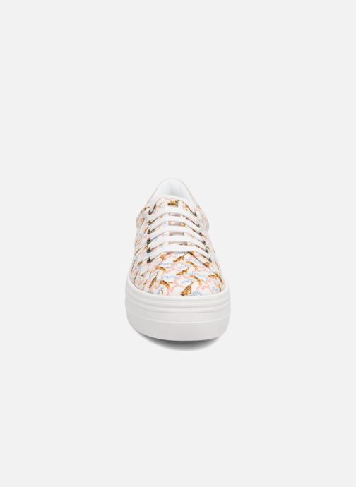 Baskets No Name Plato sneaker pink twill print tiger Blanc vue portées chaussures