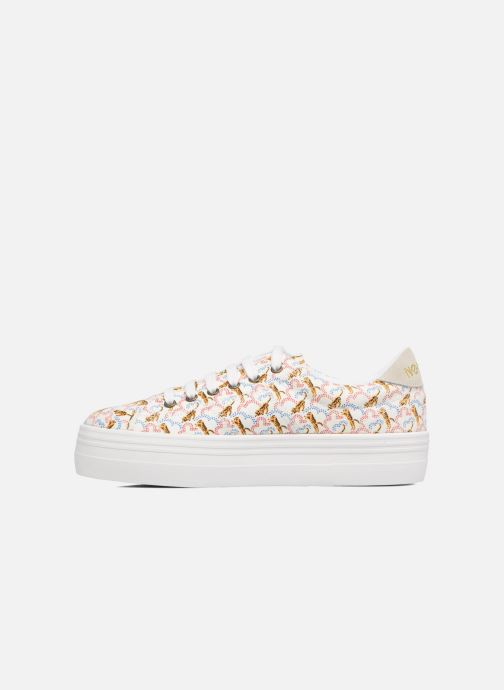 Baskets No Name Plato sneaker pink twill print tiger Blanc vue face