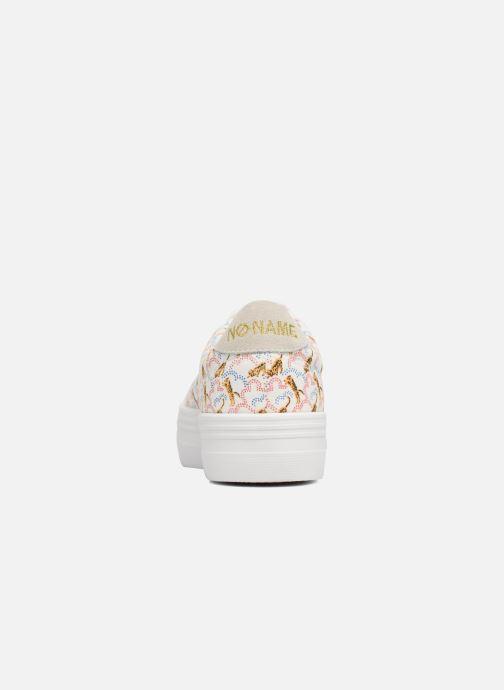 Baskets No Name Plato sneaker pink twill print tiger Blanc vue droite