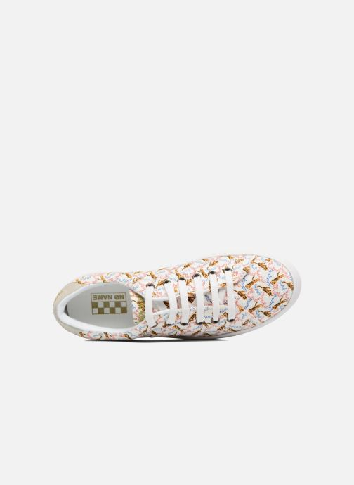 Baskets No Name Plato sneaker pink twill print tiger Blanc vue gauche