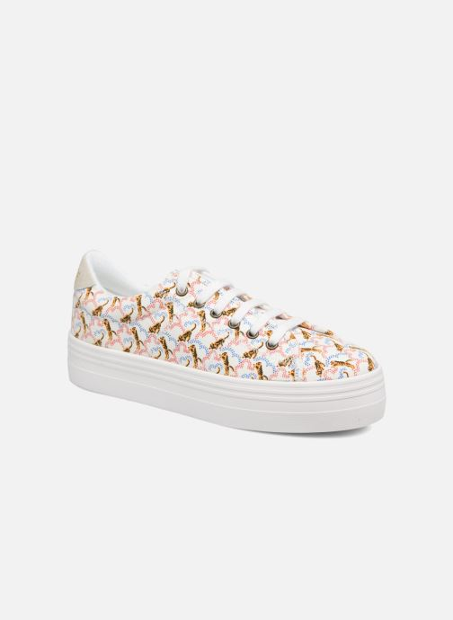 Baskets No Name Plato sneaker pink twill print tiger Blanc vue détail/paire