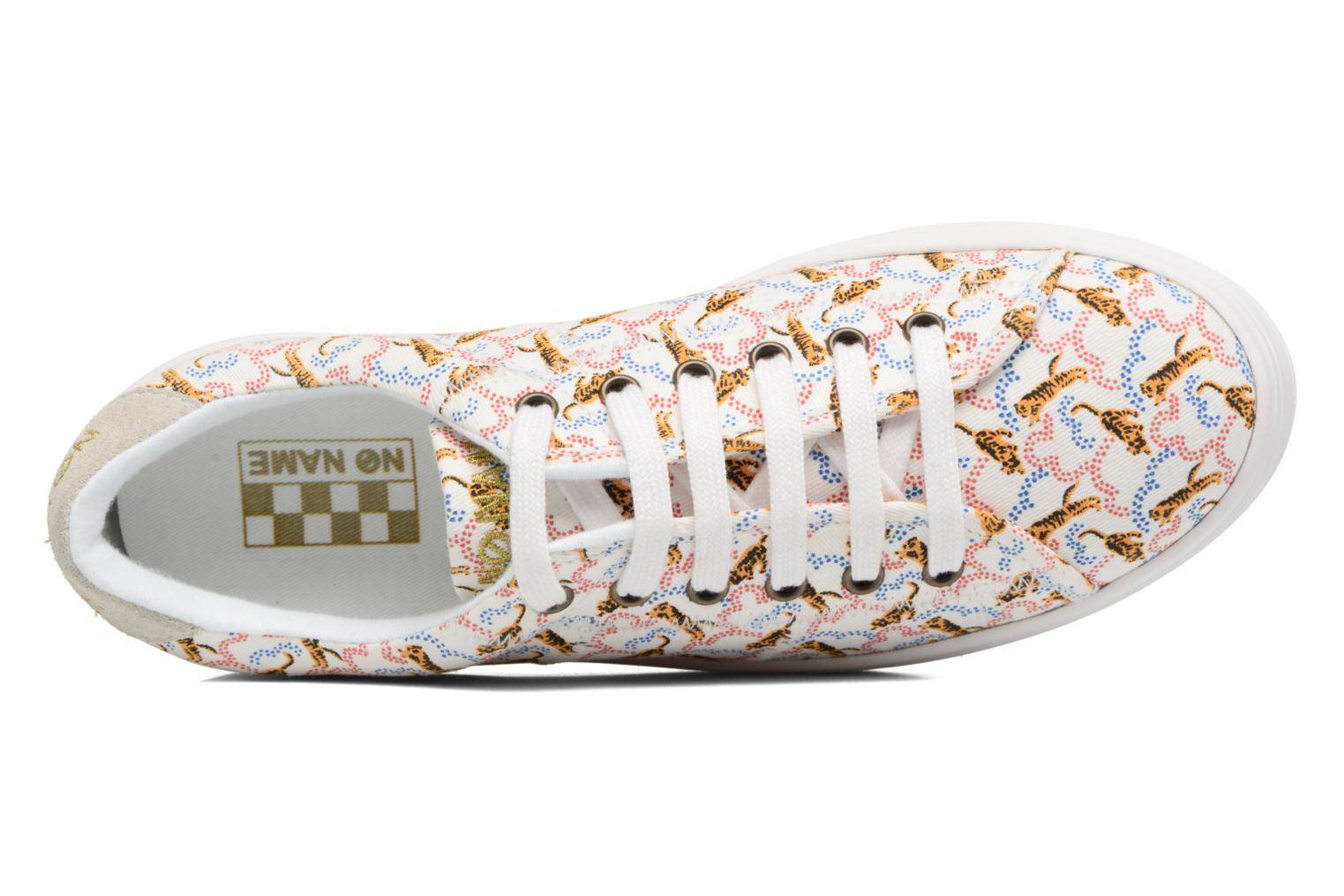 Sneakers No Name Plato sneaker pink twill print tiger Wit links