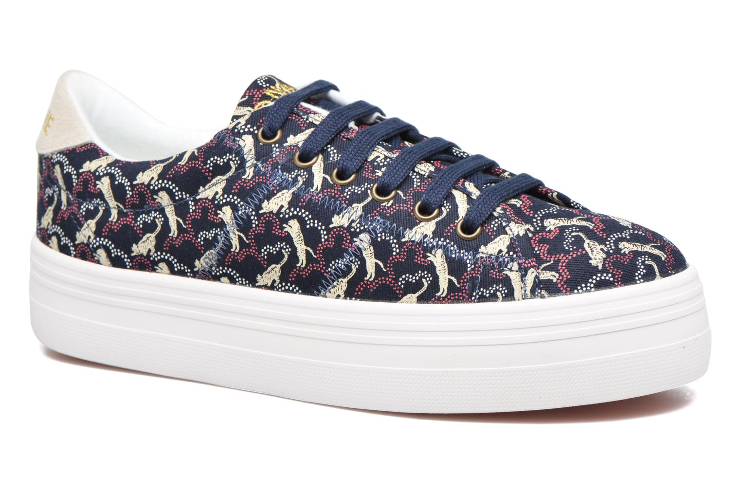 Sneakers No Name Plato sneaker pink twill print tiger Blauw detail