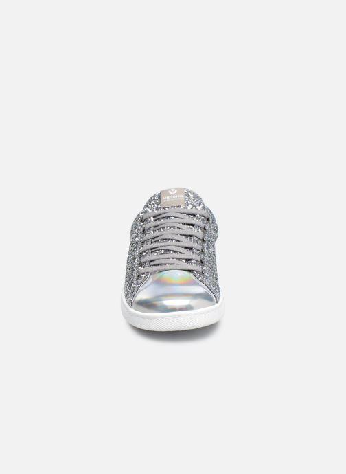 Sneakers Victoria Deportivo Basket Glitter W Argento modello indossato