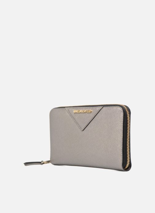 Petite Maroquinerie Karl Lagerfeld Klassik Zip around Wallet Argent vue portées chaussures