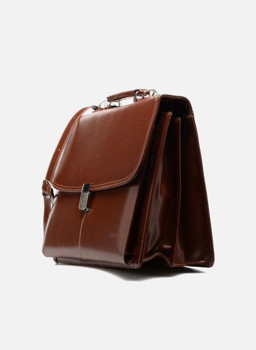 Porta PC Cristo Cartable 2 Soufflets Cuir Metropole Marrone modello indossato