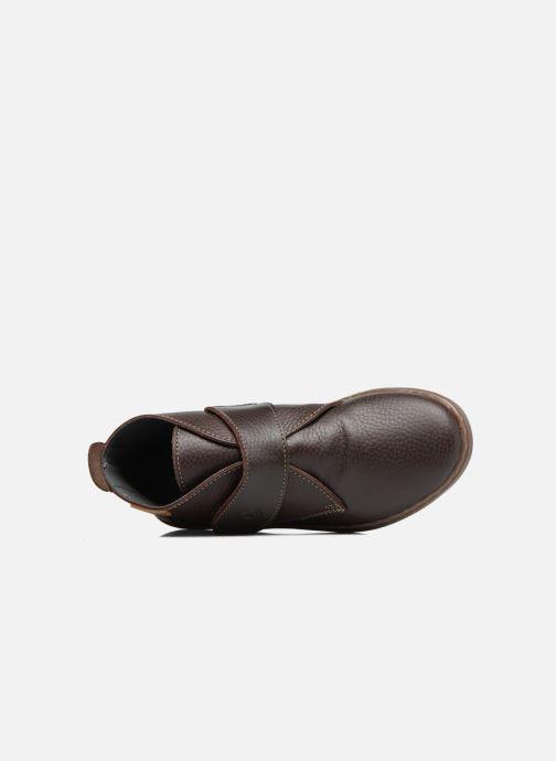 Zapatos con velcro Conguitos Juan Marrón vista lateral izquierda