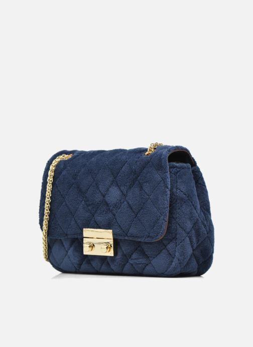 Bolsos de mano COSMOPARIS Crossbody Omia Velvet Azul vista del modelo