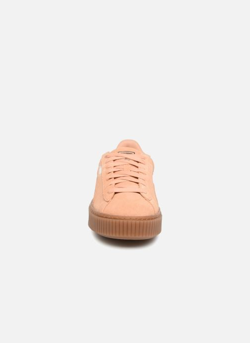 Baskets Puma Wns Suede Platform Gum Orange vue portées chaussures