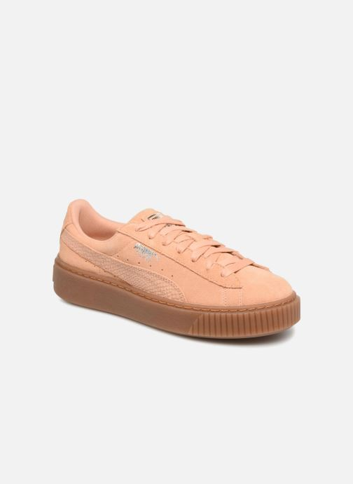 Baskets Puma Wns Suede Platform Gum Orange vue détail/paire