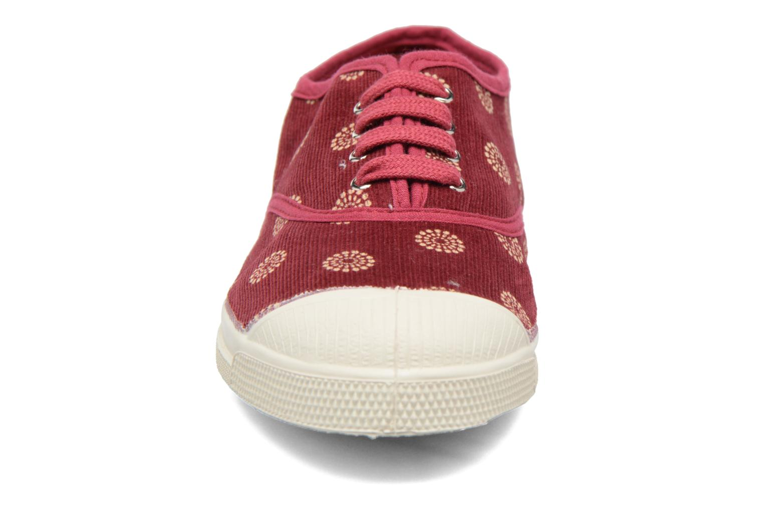 Trainers Bensimon Tennis Corduroy Burgundy model view