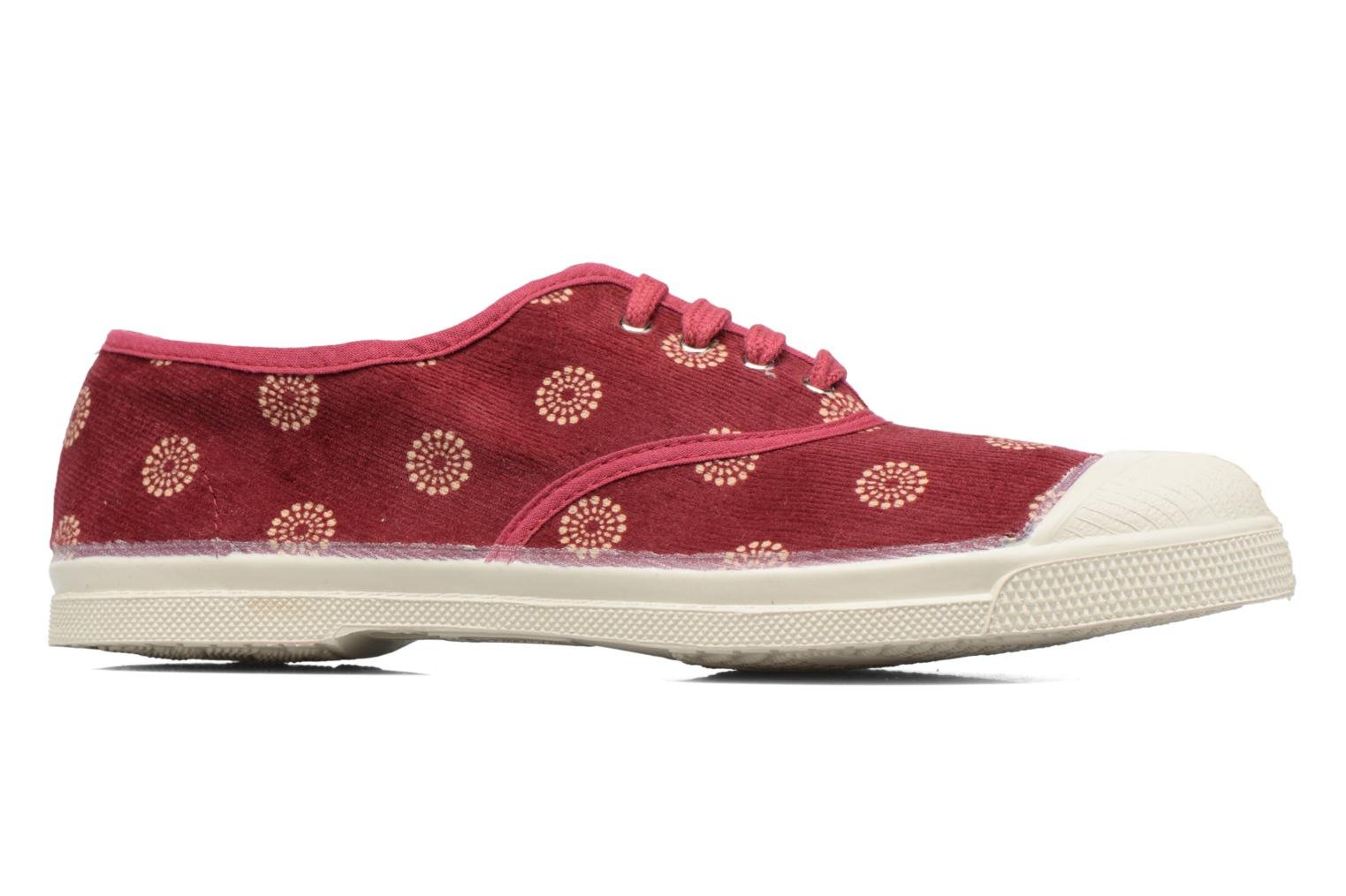 Trainers Bensimon Tennis Corduroy Burgundy back view