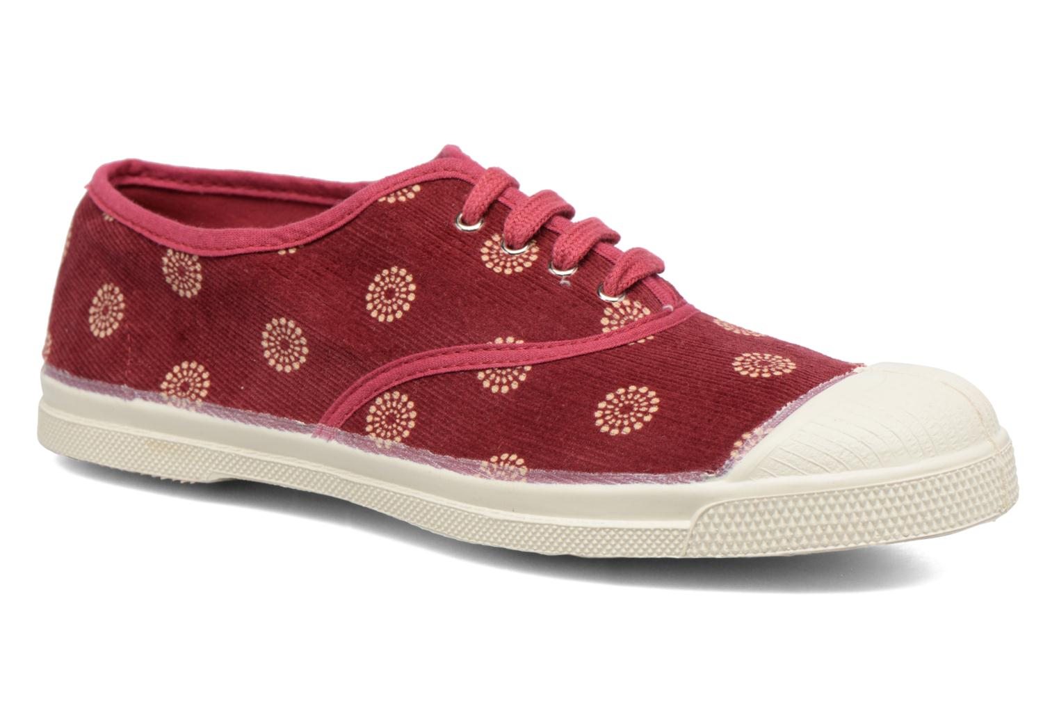 Trainers Bensimon Tennis Corduroy Burgundy detailed view/ Pair view