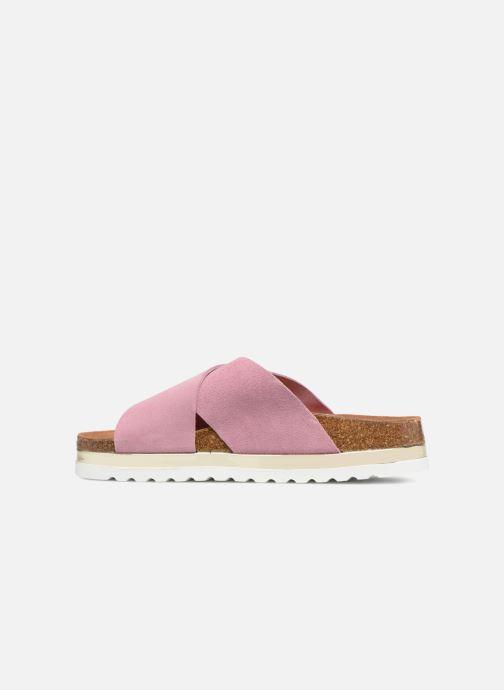 Zuecos Vero Moda Lisa Leather Sandal Rosa vista de frente