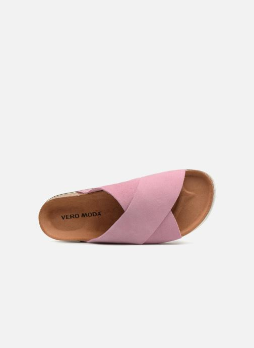 Zuecos Vero Moda Lisa Leather Sandal Rosa vista lateral izquierda