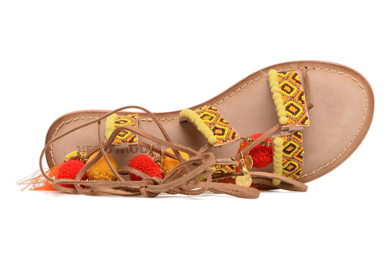 Sandalen Vero Moda Lullu Leather Sandal Oranje achterkant
