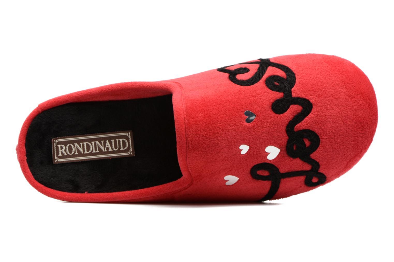 Pantuflas Rondinaud Guisane Rojo vista lateral izquierda
