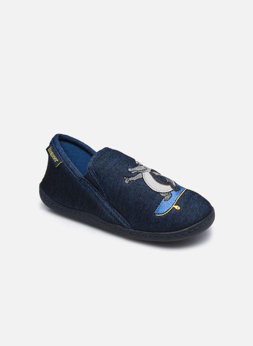 Chaussons Isotoner Mocassin Bleu vue détail/paire