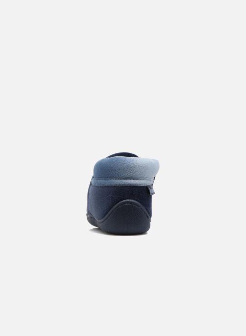 Chaussons Isotoner Botillon Zip Polyvelours Bleu vue droite
