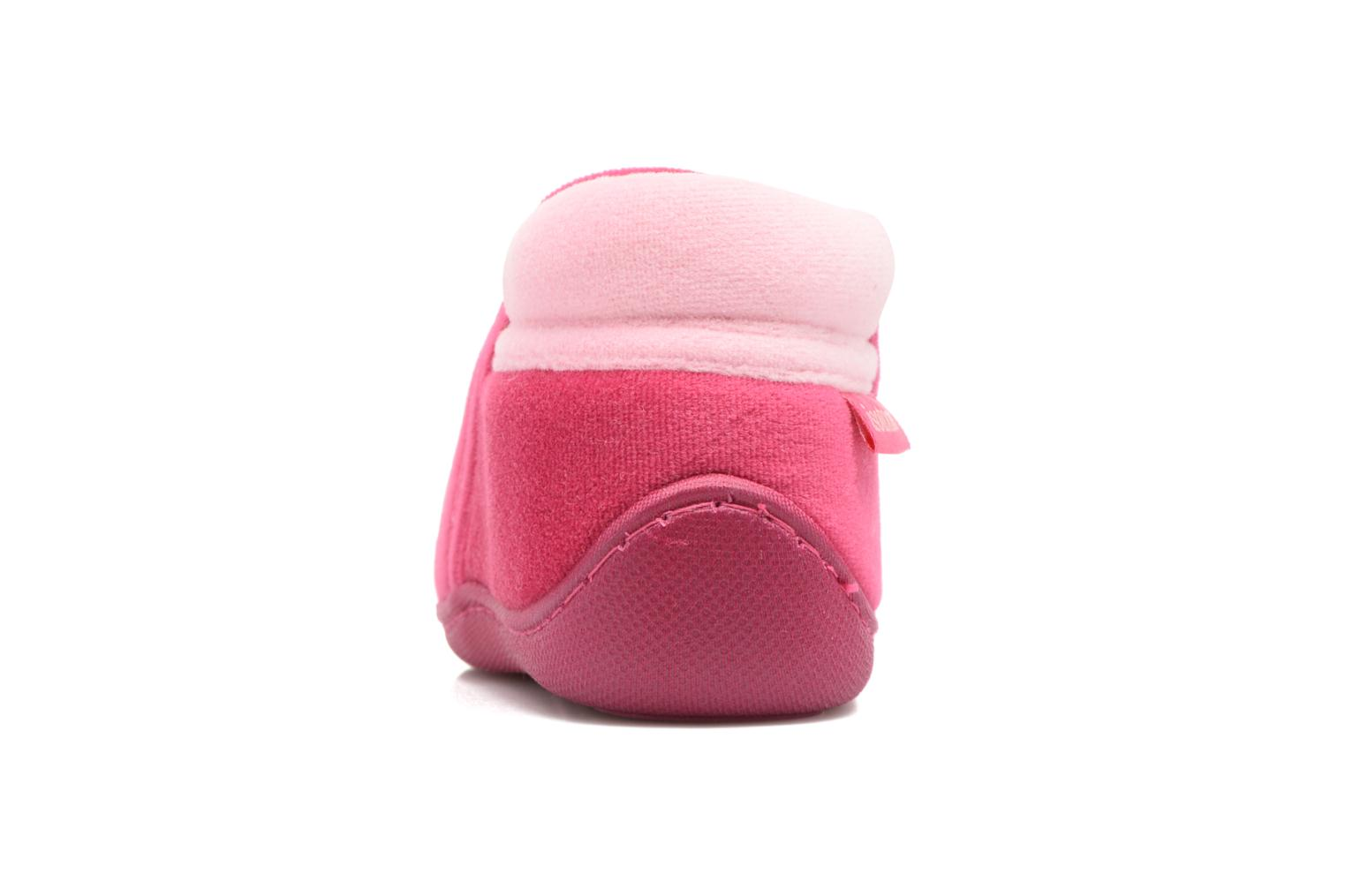 Slippers Isotoner Botillon Zip Polyvelours Pink view from the right