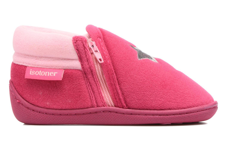Slippers Isotoner Botillon Zip Polyvelours Pink back view
