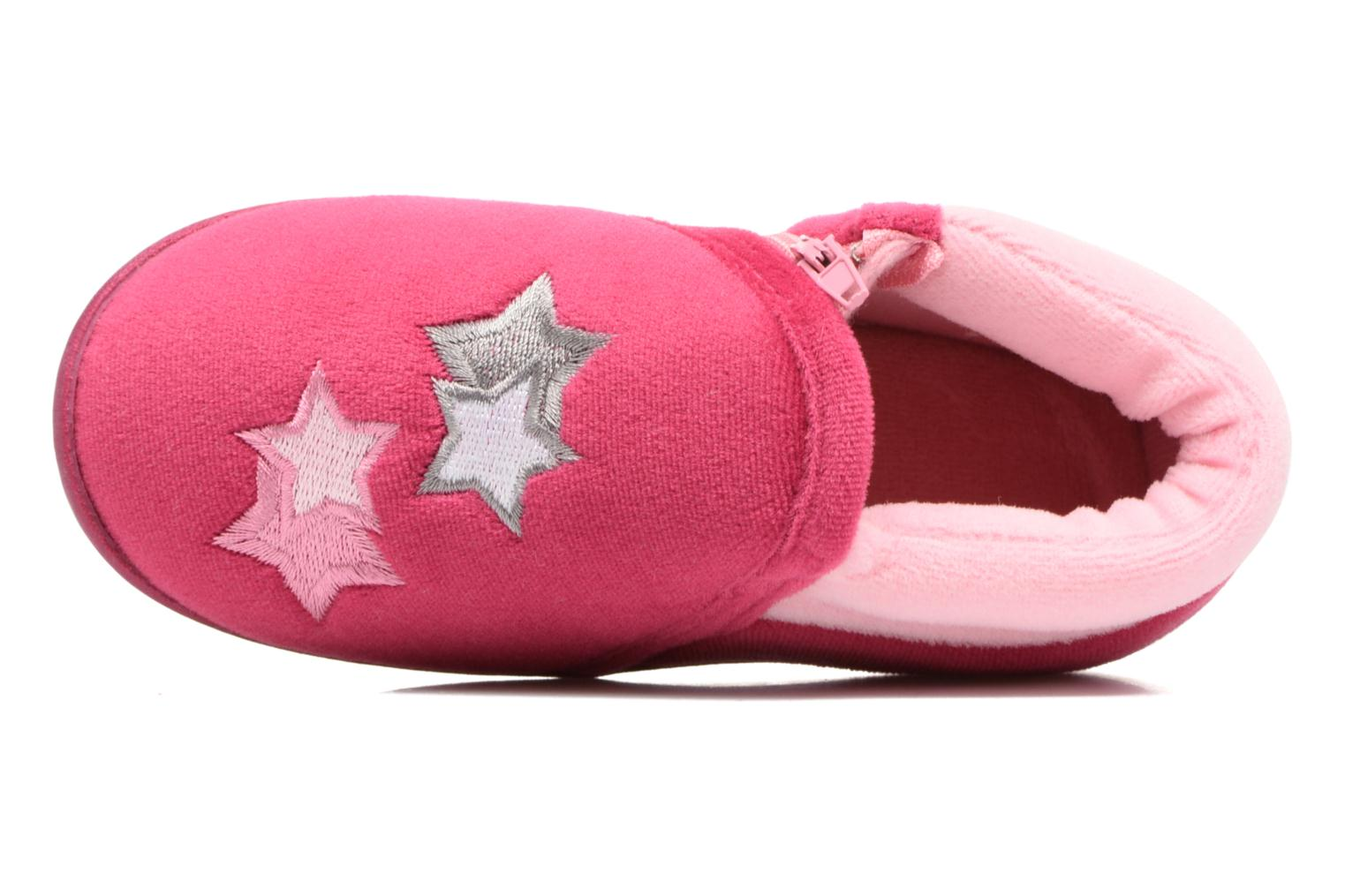Slippers Isotoner Botillon Zip Polyvelours Pink view from the left