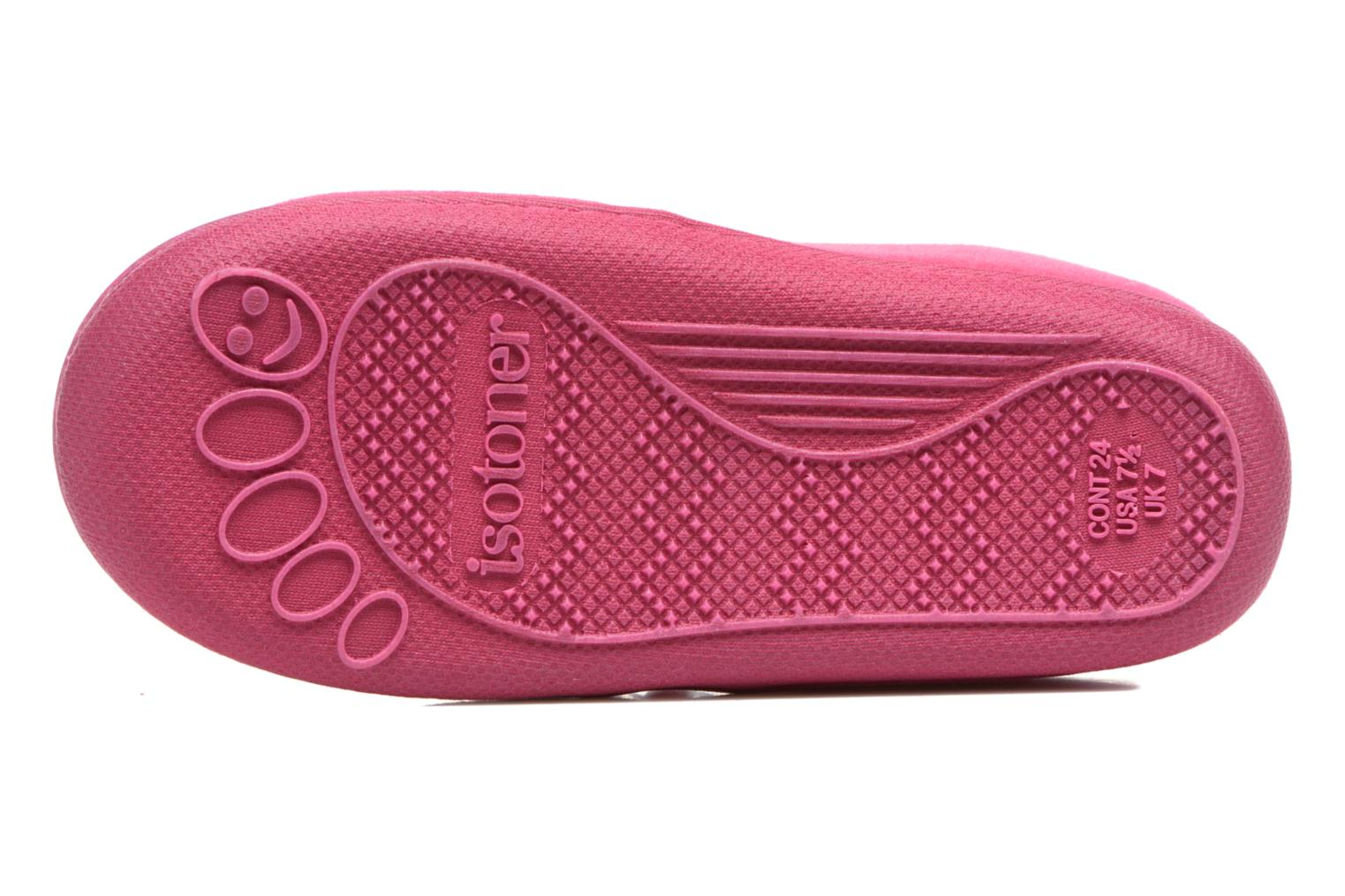 Slippers Isotoner Botillon Zip Polyvelours Pink view from above