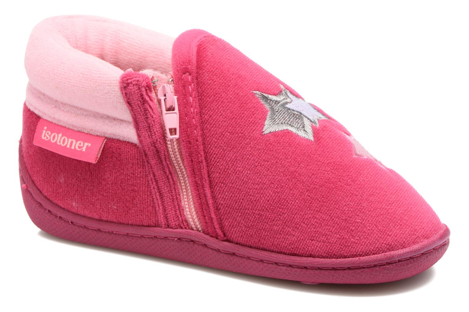 Slippers Isotoner Botillon Zip Polyvelours Pink detailed view/ Pair view
