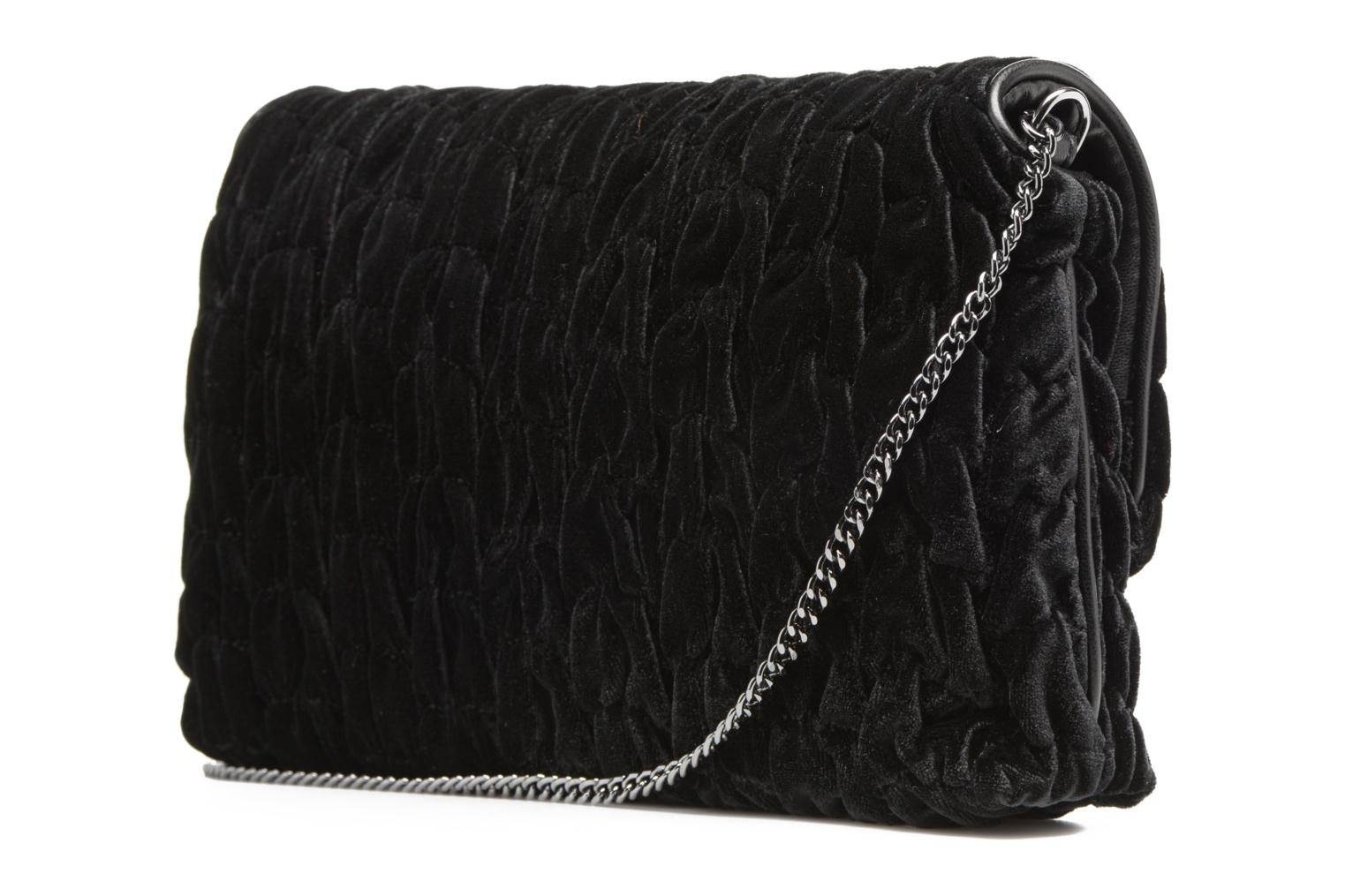 Handbags Love Moschino Pochette Chaine Velvet Black view from the right