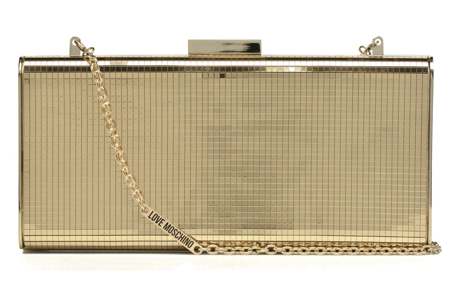 Handbags Love Moschino Minaudière Multi-Facettes Bronze and Gold front view