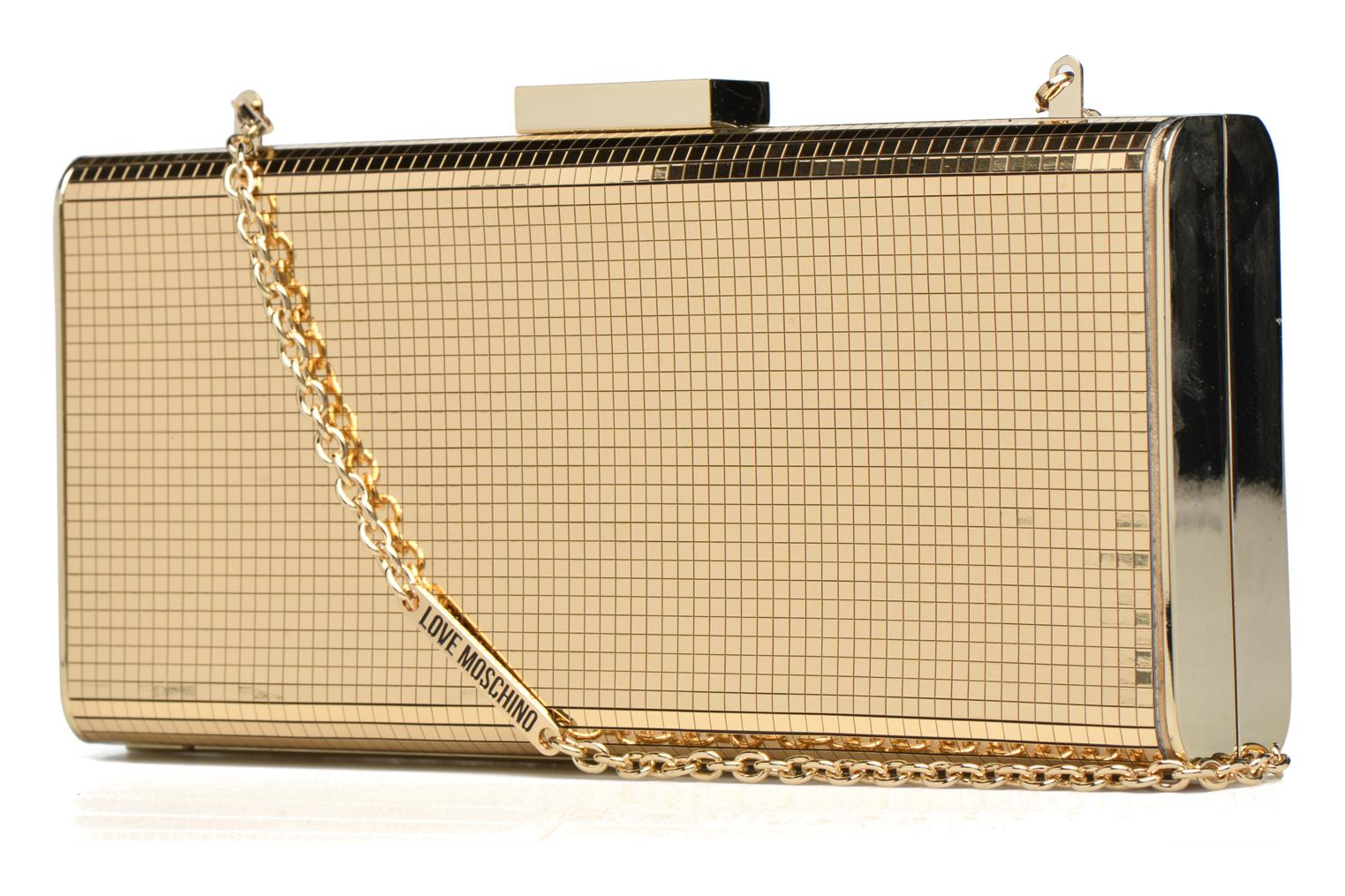 Handbags Love Moschino Minaudière Multi-Facettes Bronze and Gold view from the right