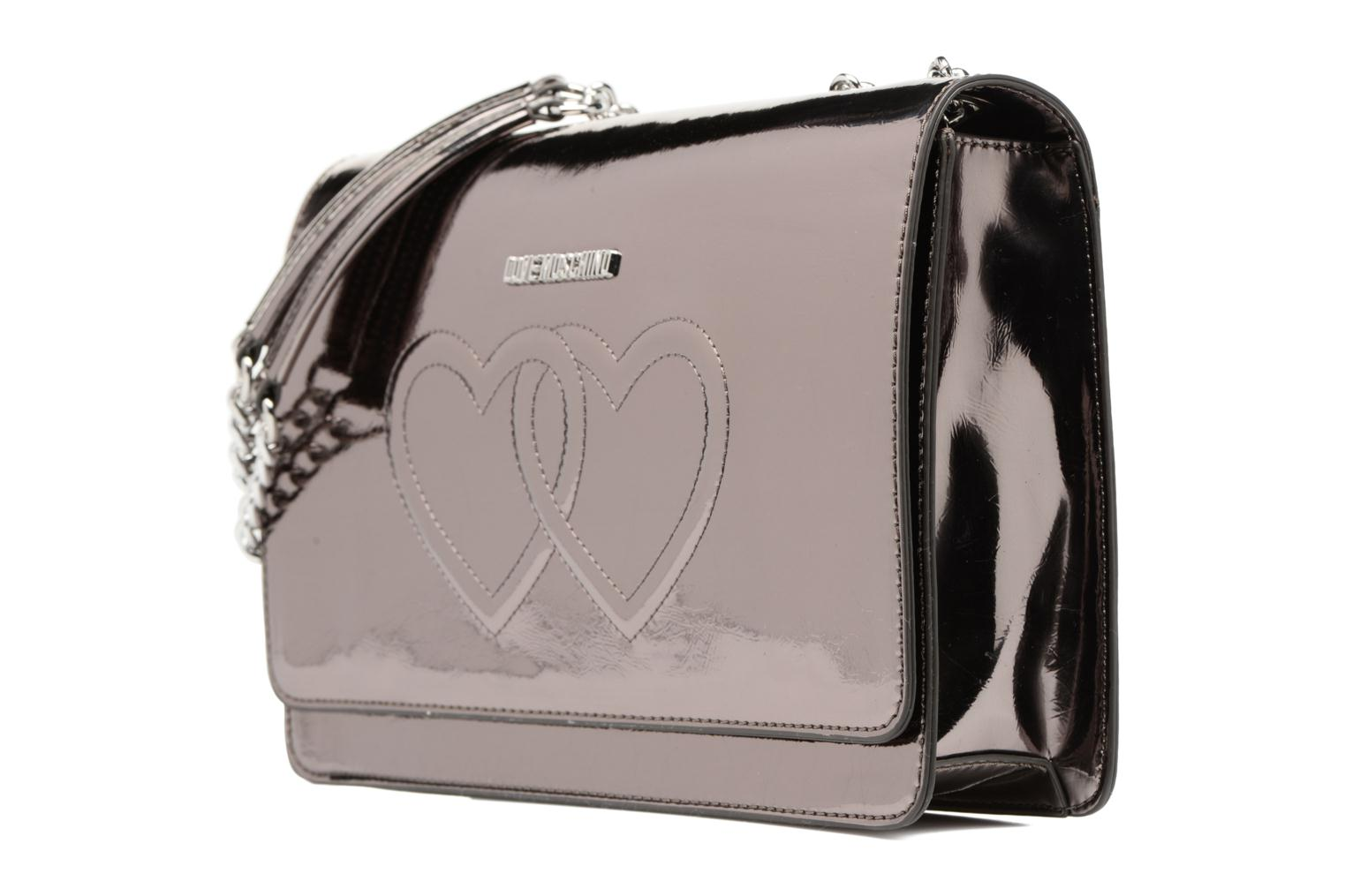 Handbags Love Moschino Porté épaule Metalic Embossed and Hearts Bronze and Gold model view
