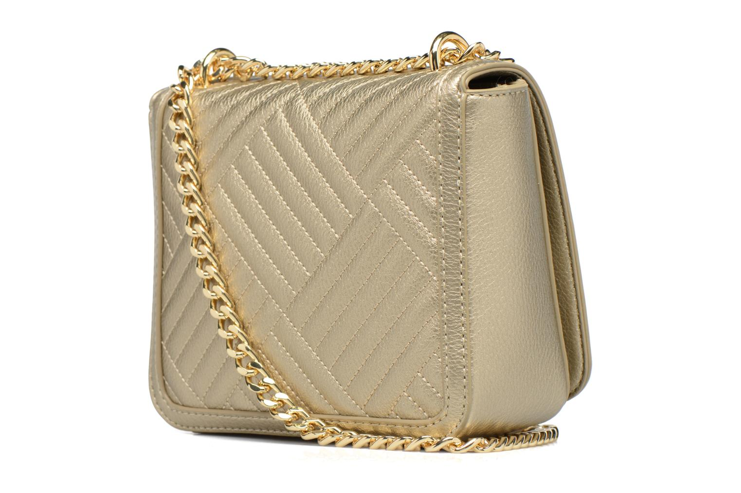 Handbags Love Moschino Crossbody Chaine Shiny Quilted Bronze and Gold view from the right