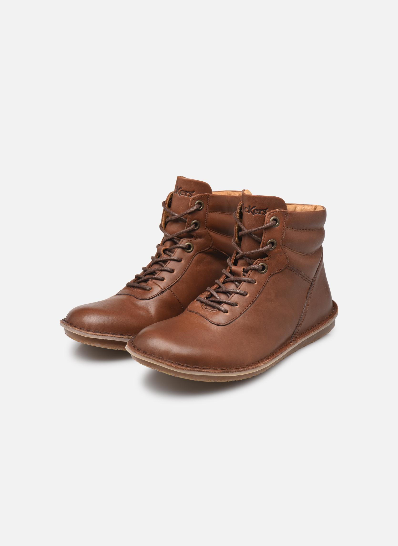 Bottines et boots Kickers WABUCK Marron vue bas / vue portée sac