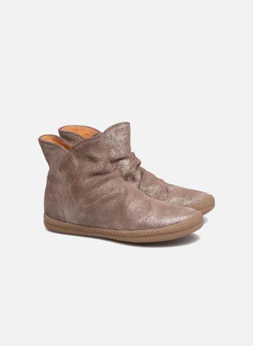 Ankle boots Pom d Api New School Pleats Beige 3/4 view