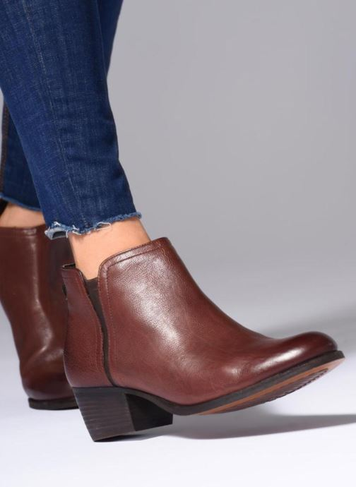Ankle boots Clarks Maypearl Ramie Brown view from underneath / model view