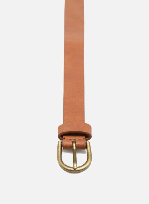 Ceintures Pieces Elegance Slim Leather belt 18mm Marron vue portées chaussures