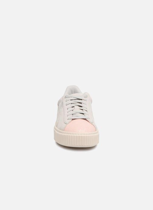 Sneaker Puma PS Suede Platform Glam/Jr Suede Platform Glam grau schuhe getragen