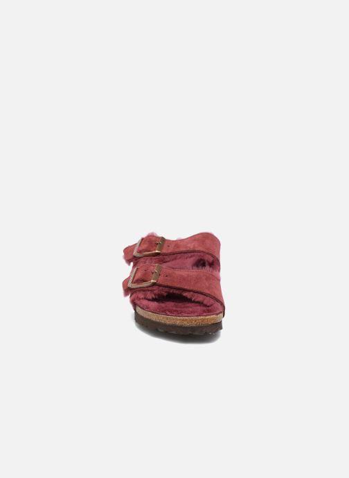 Hausschuhe Birkenstock Arizona Sheepskin weinrot schuhe getragen
