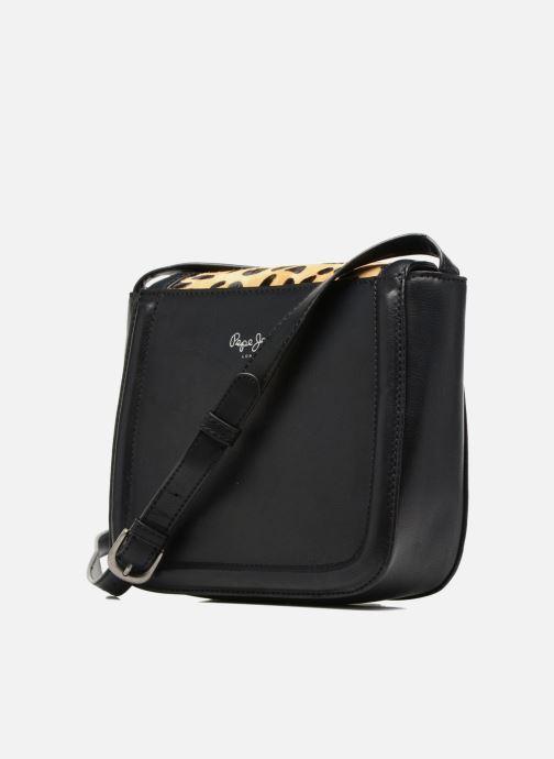 Handtassen Pepe jeans TATY Crossbody Suede leather bag Zwart rechts