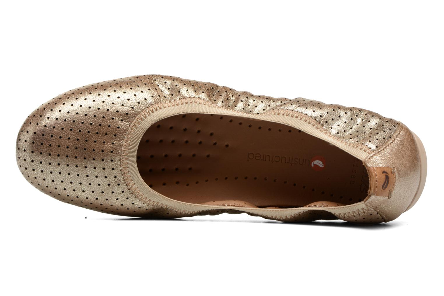 Ballet pumps Clarks Un Tract Bronze and Gold view from the left