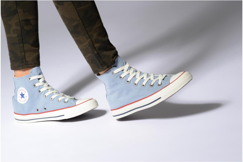 Baskets Converse Chuck Taylor All Star Ombre Wash Hi W Bleu vue bas / vue portée sac