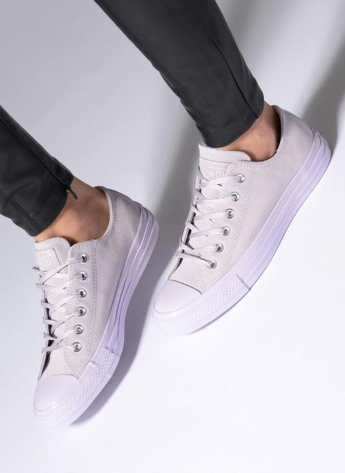 Trainers Converse Chuck Taylor All Star Mono Plush Suede Ox Grey view from underneath / model view