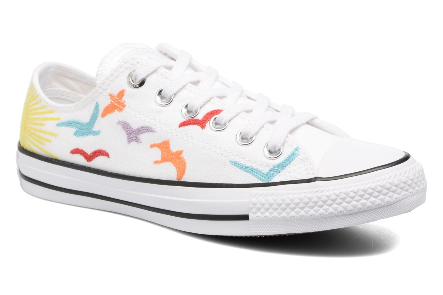 Baskets Converse Chuck Taylor All Star Mara Hoffman Rainbow Birds Ox Blanc vue détail/paire
