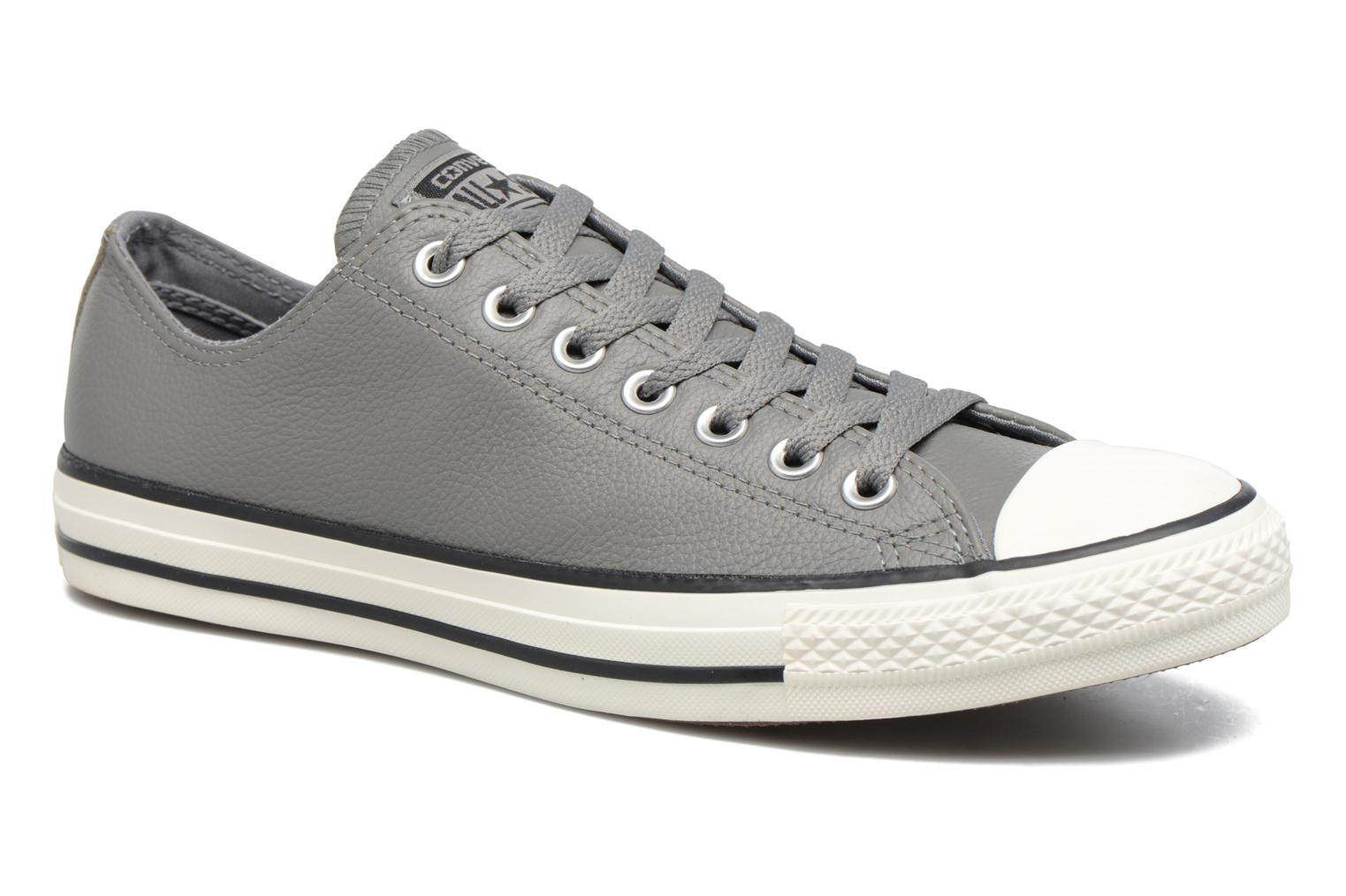 Baskets Converse Chuck Taylor All Star Tumble Leather Ox Gris vue détail/paire