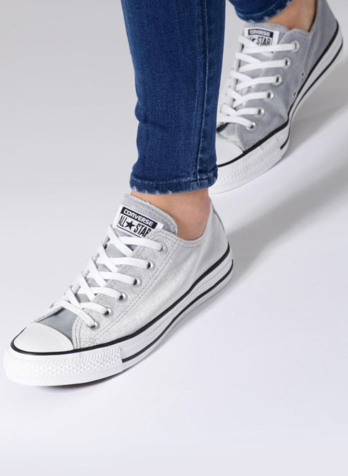 077992e30679 Trainers Converse Chuck Taylor All Star Velvet Ox Grey view from underneath    model view