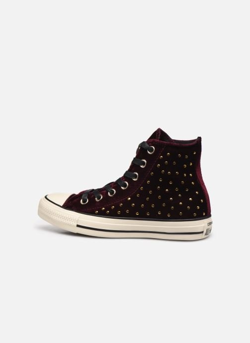 Trainers Converse Chuck Taylor All Star Velvet Studs Hi Burgundy front view